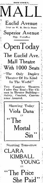 March 17th, 1917 grand opening ad