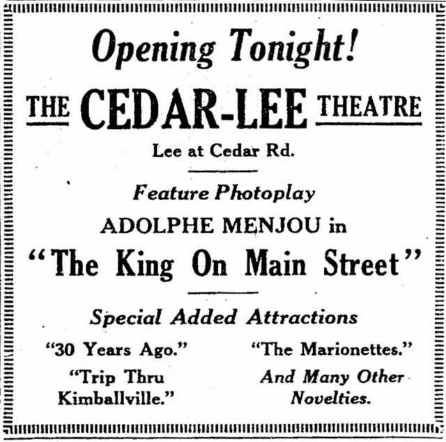 December 29th, 1925 grand opening ad