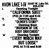 Avon Lake 4 grand opening ad from December 22nd, 1978