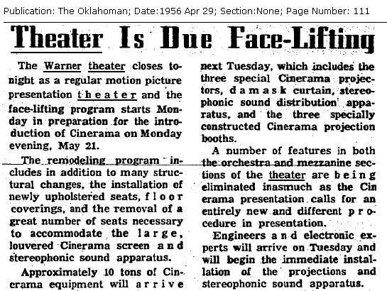 Warner Theatre, Oklahoma City, 1956 Facelift Article