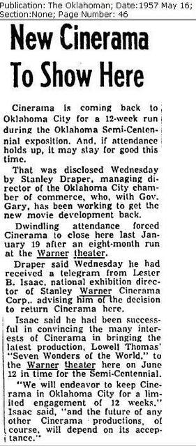 Warner Theatre, Oklahoma City, 1957 Cinerama Article