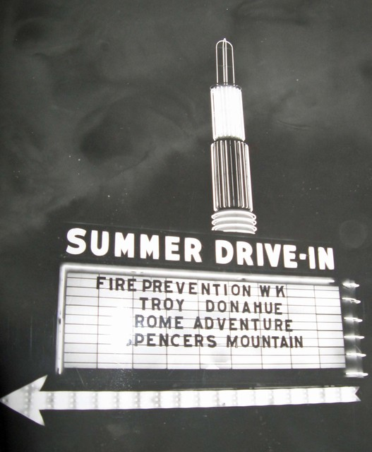 Summer Drive-In marquee lit