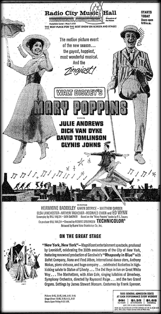 """Mary Poppins"" opened on September 24th, 1964"