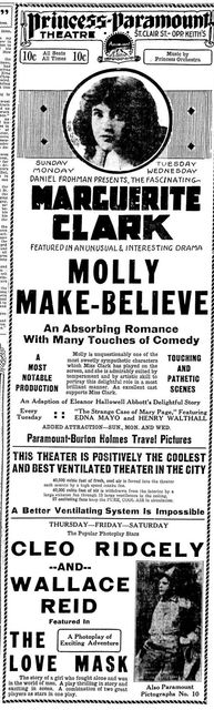 Grand opening ad as Princess Paramount from April 22nd, 1916