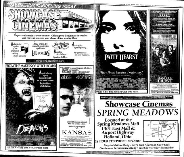 September 23rd, 1988 grand opening ad as Showcase Spring Meadows