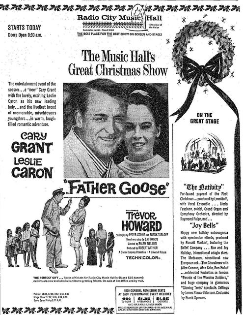 """Father Goose"" opened on December 10th, 1964, as part of the Christmas Holiday Show."