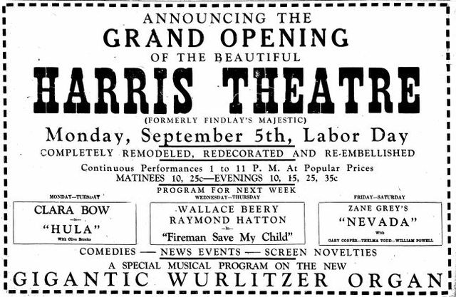Grand opening ad from September 3rd, 1927