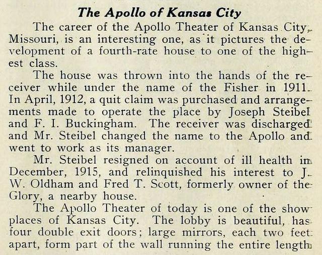Apollo Theatre, Kansas City 1917 - Clipping part 1