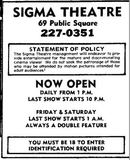 <p>Sigma adult cinema from August 9th, 1977</p>