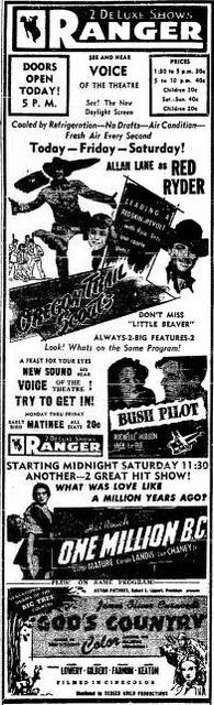 April 8th, 1948 opening ad as Ranger