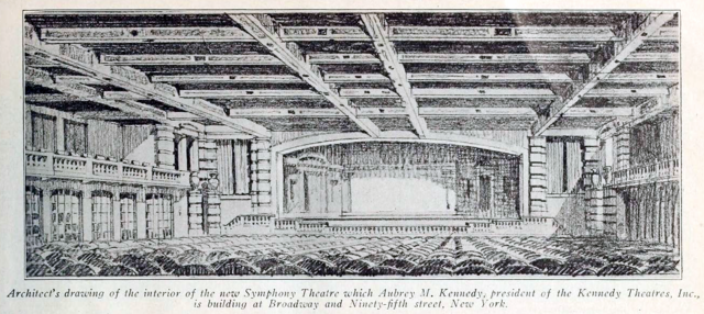 Symphony Theatre, Broadway, New York - Architects drawing from 1918