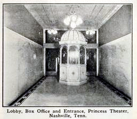 Princess Theatre, Nashville, Tenn in 1912 - Lobby and Ticket Booth