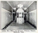 <p>Princess Theatre, Nashville, Tenn in 1912 – Lobby and Ticket Booth</p>