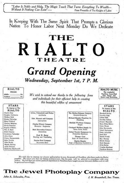 Grand opening ad as Rialto from August 31st, 1920