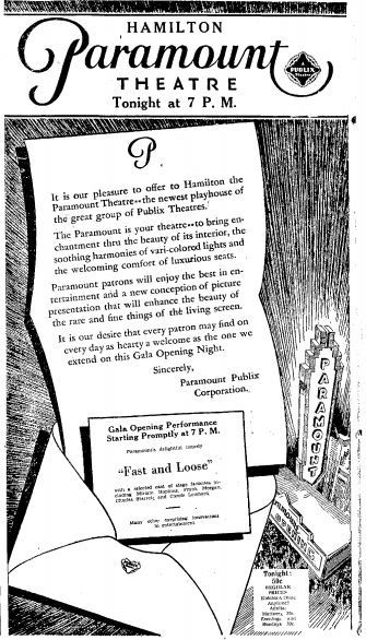 March 6th, 1931 grand opening ad