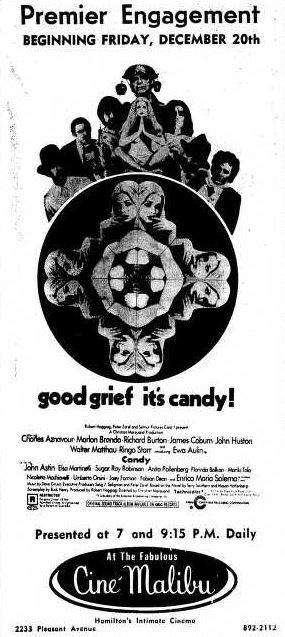 December 19th, 1968 grand opening ad as Ciné Malibu
