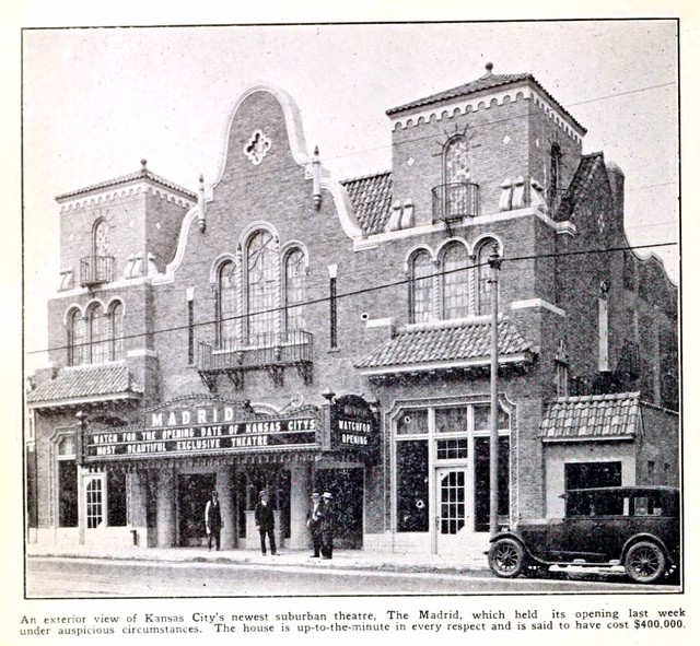Madrid Theatre, Kansas City MO in 1926 - Exterior