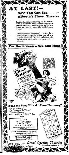 Grand opening ad from October 9th, 1929