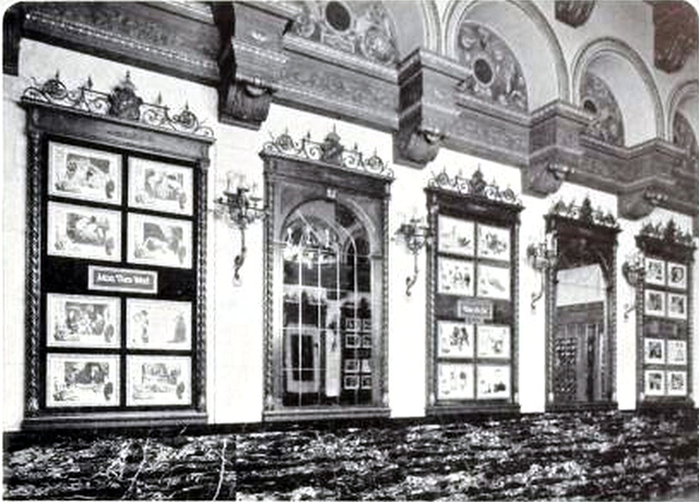 Sanford Theatre, Irvington, New Jersey in 1927 - Wall display frames and mirrors in the Lobby