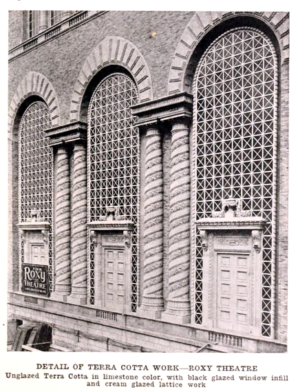 Roxy Theatre, New York in 1927 - Detail of exterior terra cotta work
