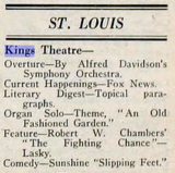 Kings Theatre, St. Louis MO in 1920 - Program