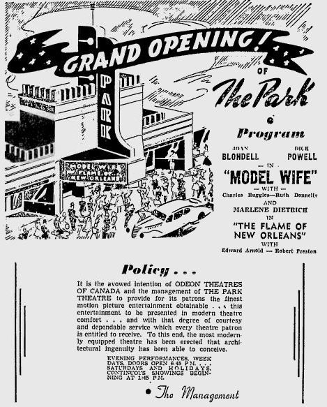 Grand opening ad from August 2nd, 1941.