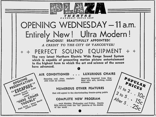 September 1st, 1936 grand opening ad