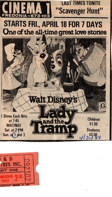 "Ticket for ""Cinema One"" in Fredonia for ""Lady and the Tramp"""