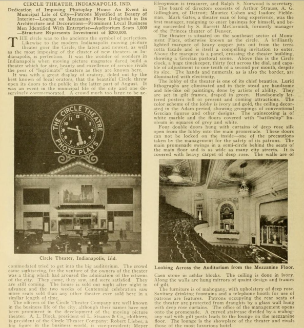 Circle Theatre, Indianapolis,IN: Moving Picture World - November 18 1916