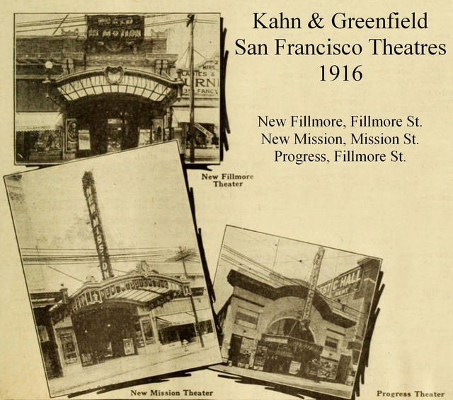San Francisco Theatres in 1916 - New Mission, Progress and New Fillmore