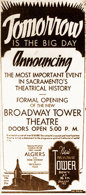 Grand Opening of Tower 1938 (Newspaper Ad)