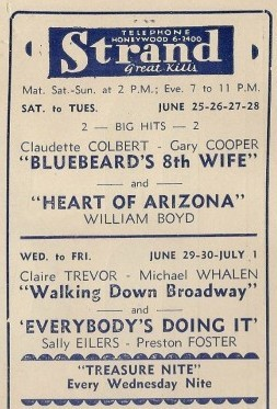 Theater Ad from 1938