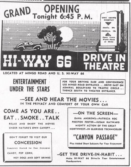 Hi-Way 66 Drive-In, Tulsa, OK. 1946 Ad