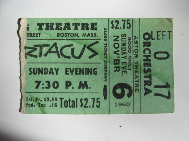 Ticket stub from 1960