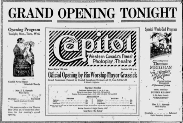 March 19th, 1921 grand opening ad