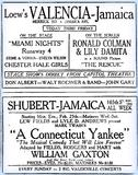 Ad showing the, then Shubert, and the Valencia 2/24/29