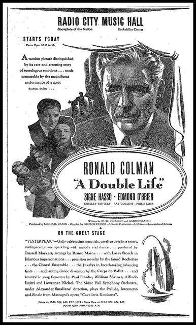 A Double Life Ad, February 18, 1948