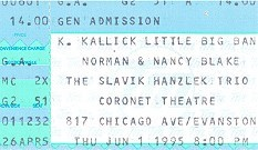 Ticket stub from the Coronet as a music venue in 1995 courtesy of Andy Sohn.