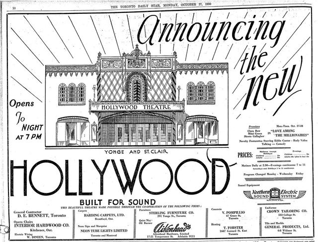 October 27th, 1930 grand opening ad