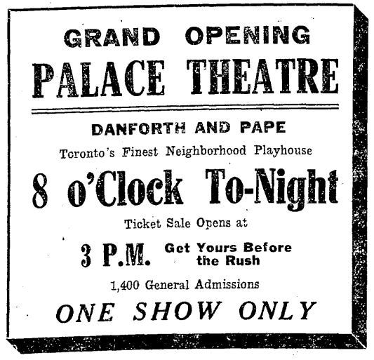 February 19th, 1921 grand opening ad