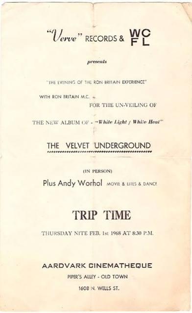 1968 Velvet Underground Handbill.