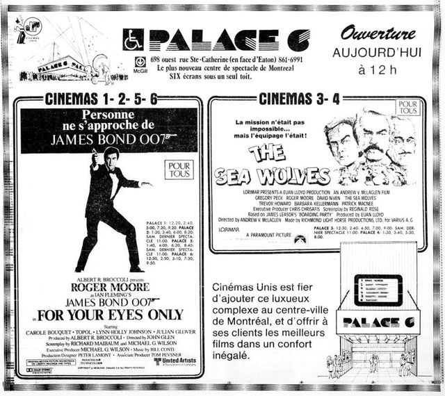 June 26th, 1981 grand opening ad (French)