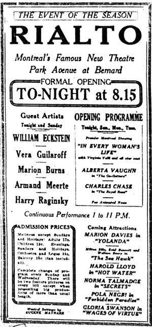 December 27th, 1924 grand opening ad