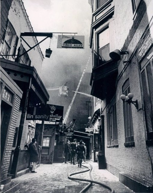 1971 Pipers Alley fire photo courtesy of Bob Nasca.