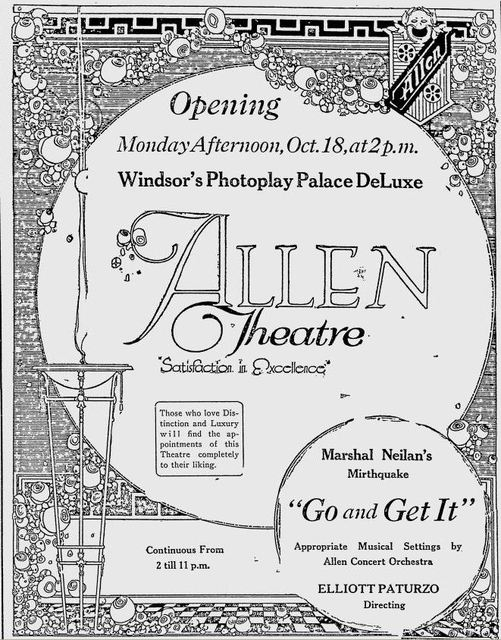 October 16th, 1920 grand opening ad