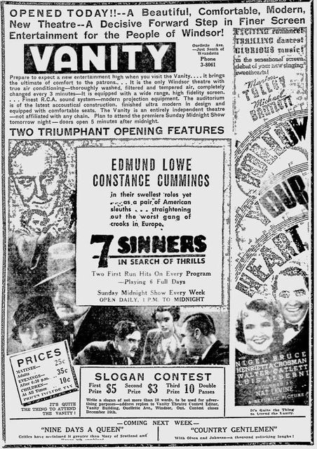 November 21st, 1936 grand opening ad