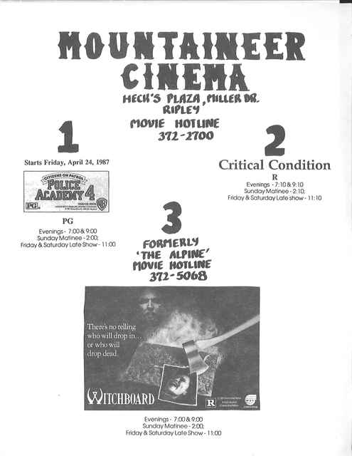 Playbill for the Mountaineer Cinemas - 1987
