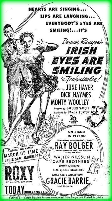 Roxy's attraction for St. Patrick's day in 1944
