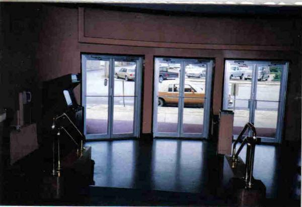 Lobby View of Front Doors at Marshall Theatre