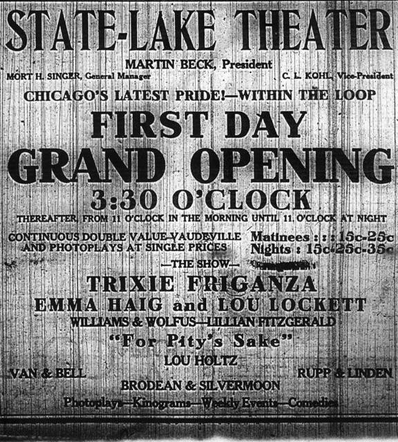 State-Lake Theatre opening day ad